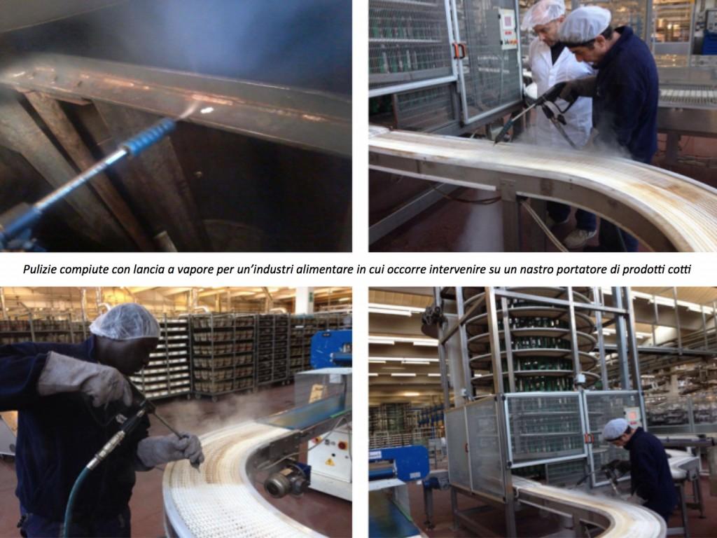 pulizie a vapore su nastri portatori di prodotti alimentari cotti- Igienica