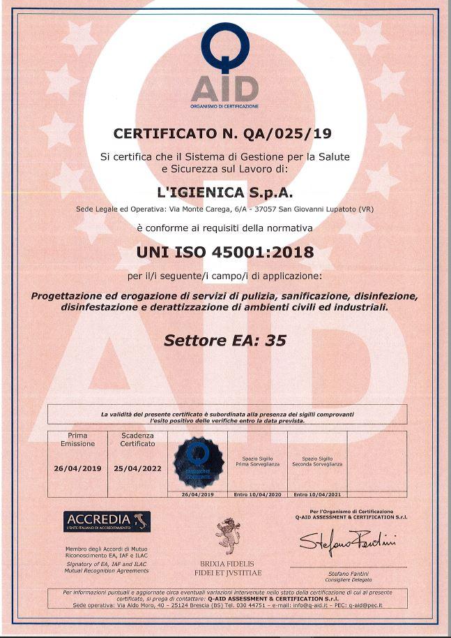 CERTIFICAZIONE ISO 45001:2018